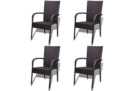 5. Festnight Outdoor Patio Garden Wicker Stacking Dining Chairs Set of 4, Poly Rattan