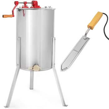 6. XtremepowerUS 2-Frame Honey Extractor Stainless Steel w/ Electric Uncapping Knife