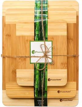 4. Extra Thick Eco-Friendly Bamboo Cutting Board Set of 3