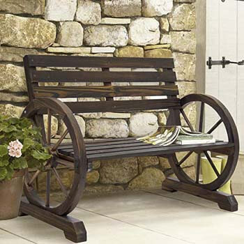 6. Best Choice Products Wooden Rustic Wagon Wheel Bench
