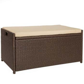 8. Victoria Young Resin Wicker Deck Box Storage Bench Container with Seat