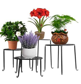 7. AISHN Metal Plant Stand 4 in 1 Potted Irons Planter Supports Floor Flower Pot