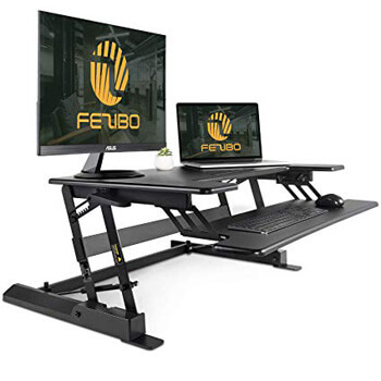 10. Fezibo Standing Desk Converter with Height Adjustable