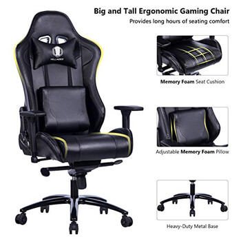2: KILLABEE Big and Tall Gaming Chair with Metal Base