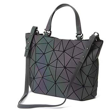 6: HotOne Geometric Purse Holographic Purse, Eco-Artificial Leather Luminous Purses and Handbags Match Wallet Optional