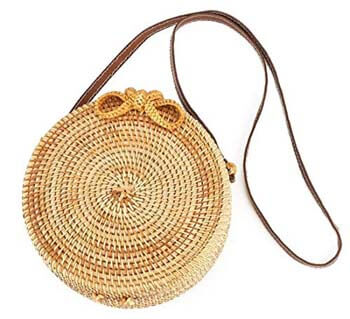 5: Handwoven Round Rattan Bag Shoulder Leather Straps Natural Chic Hand Gyryp