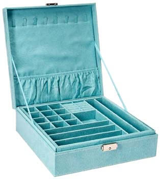 1: KLOUD City Two-Layer lint Jewelry Box Organizer Display Storage case with Lock (Blue)