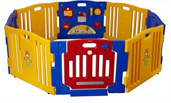 7. Baby Diego Cub'Zone Playpen and Activity Center, Yellow/Blue/Red