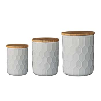 6. Bloomingville A21700001 Set of 3 White Stoneware Canisters