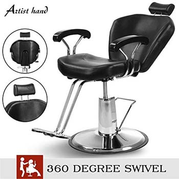 2. Artist Hand Hydraulic Reclining Barber Chair 360 Degrees Rolling Swivel Barber Chairs Hair Salon Spa Equipment