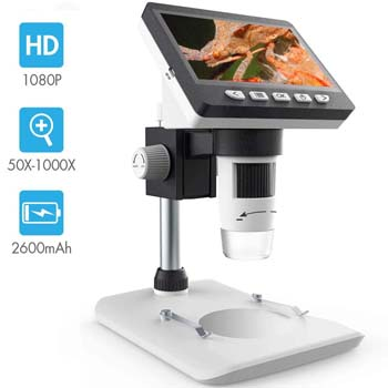 3. LCD Digital Microscope, SKYBASIC 4.3 inch 50X-1000X Magnification
